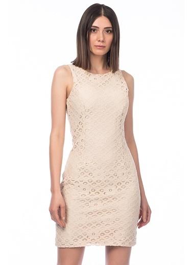 Kolsuz Dantel Mini Elbise-İroni